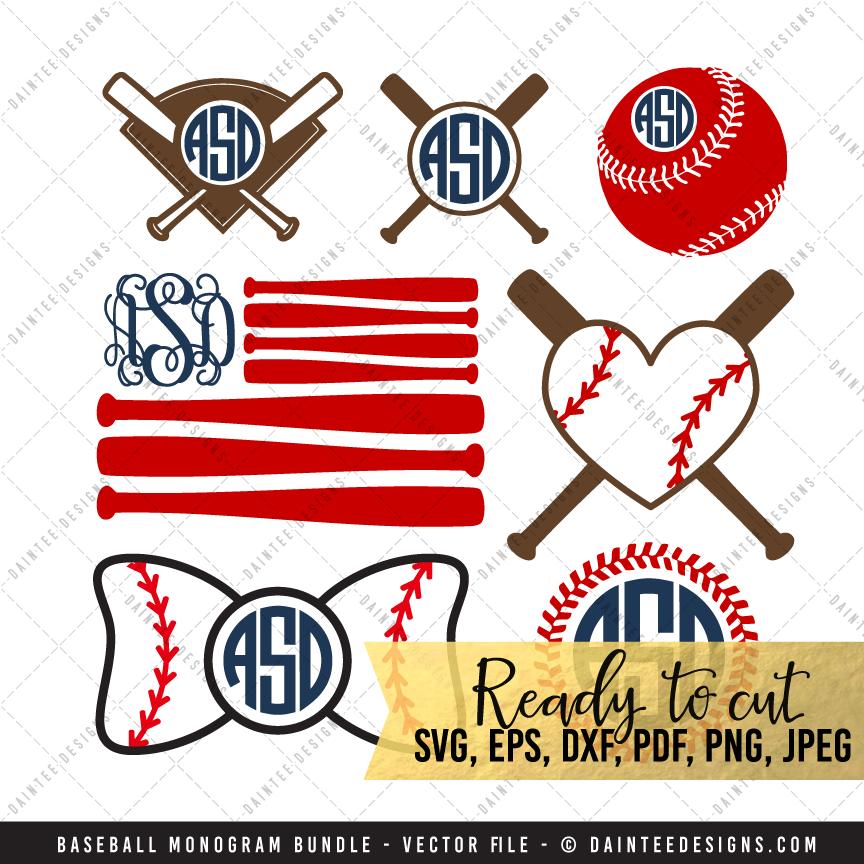 Baseball monogram set svg dxf eps digital cutting for Monogram homes
