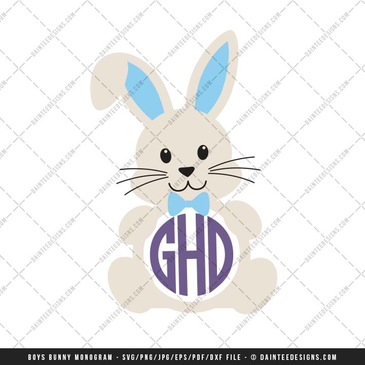 Circle Monogram Easter Bunnies Svg Dxf Eps Digital Cutting File Daintee Designs