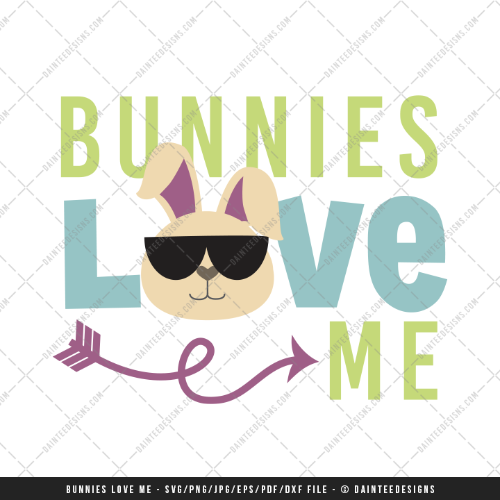 Download Bunnies Love Me Easter - SVG, DXF, EPS, Digital Cutting ...