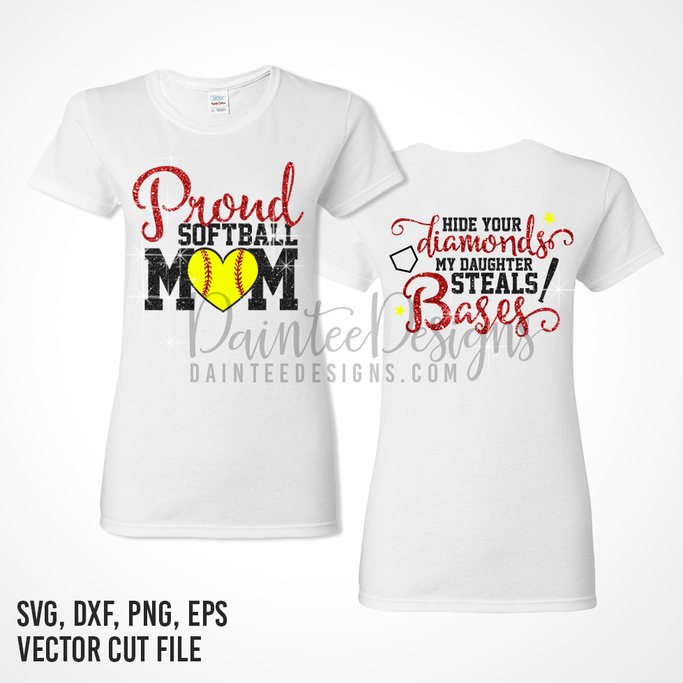 Proud Softball Mom - SVG, DXF, EPS, Digital Cutting File