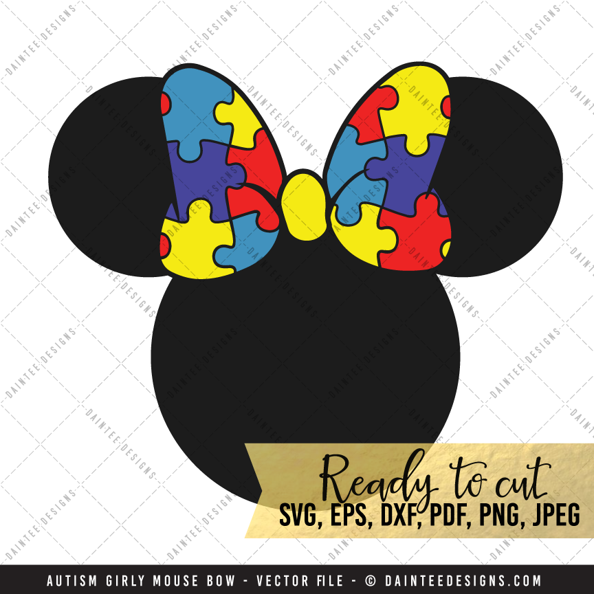 Autism Girly Mouse Bow Svg Dxf Eps Digital Cutting