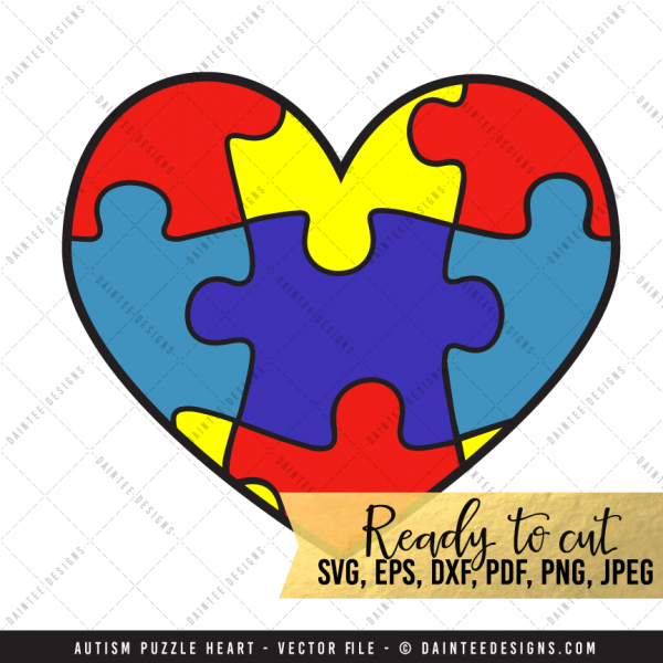 Autism Puzzle Heart Svg Dxf Eps Digital Cutting File