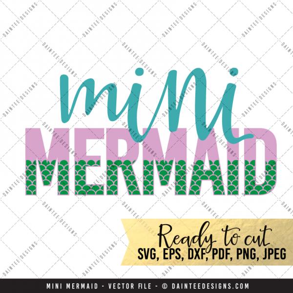 Mommy Amp Mini Mermaid Svg Dxf Eps Digital Cutting File