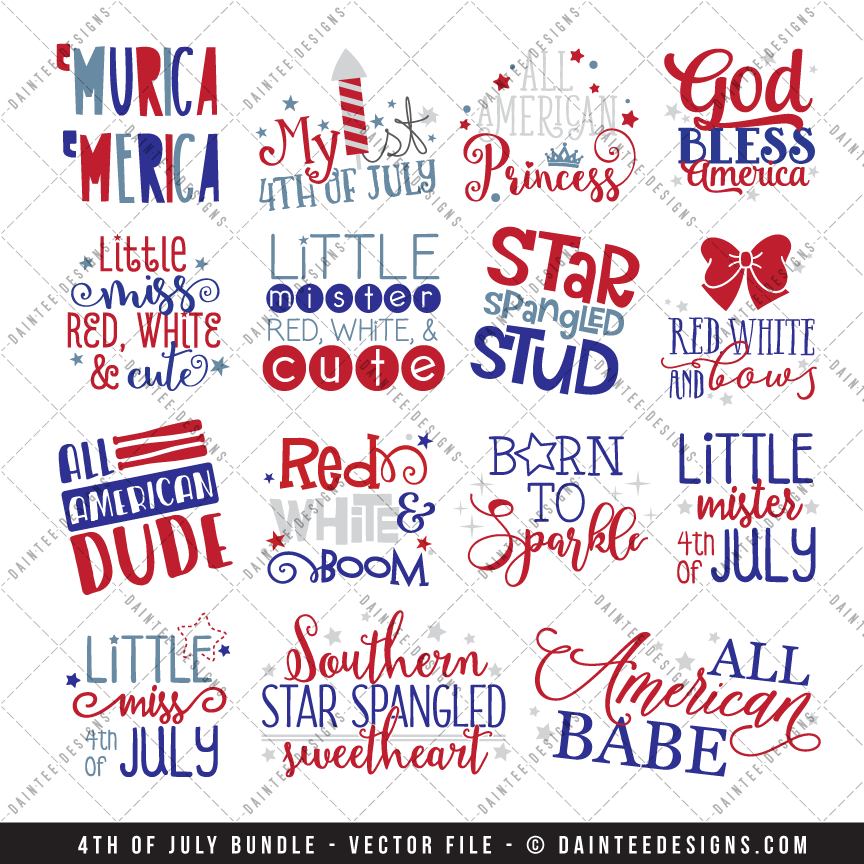 4th of July Bundle - SVG, DXF, EPS Digital Cutting Files