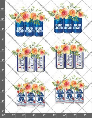 Beer Mix 2 Flowers Waterslide Decal