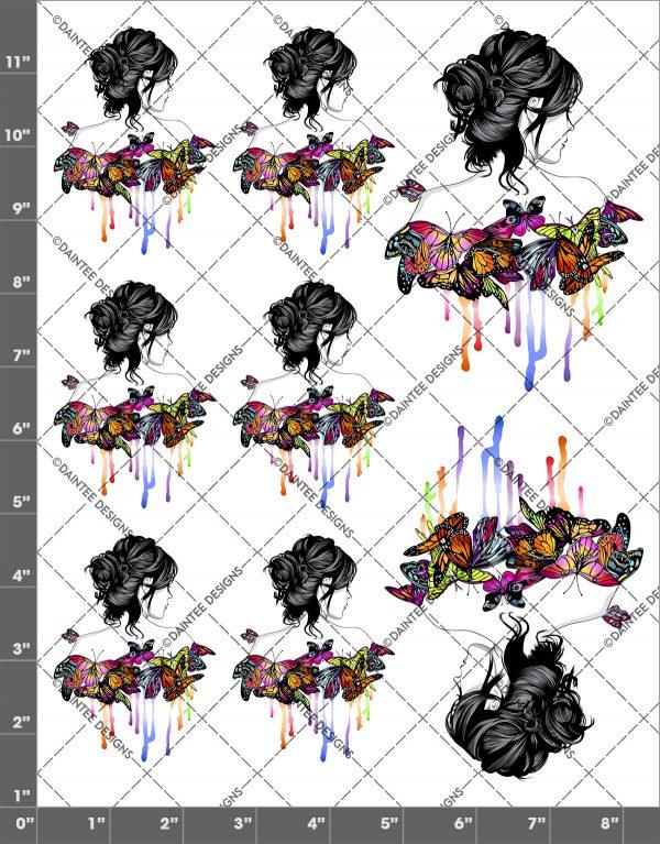 Girl Watercolor Butterflies Waterslide Sheet