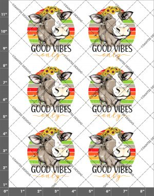 Good Vibes Only Cow Waterslide Decal