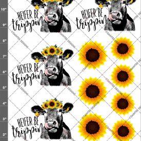 Heifer (Singular) Be Trippin Sunflower Cow Lick Waterslide Sheet