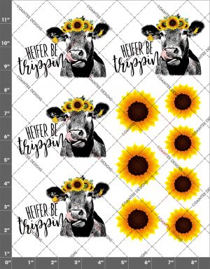 Heifer (Singular) Be Trippin Sunflower Cow Lick Waterslide Sheet