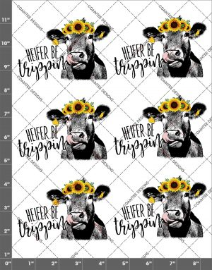 Heifer (Singular) Be Trippin Sunflower Cow Lick 2 Waterslide Sheet