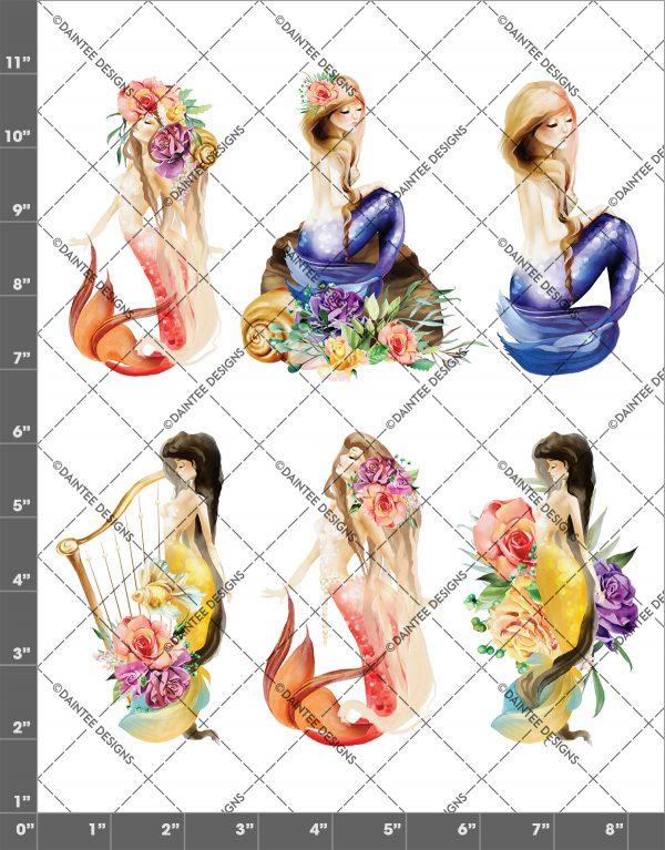 Watercolor Mermaid Mix 2 Waterslide