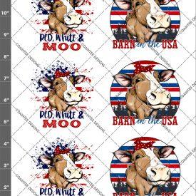 Red, White, & Moo Patriotic Cow Waterslide