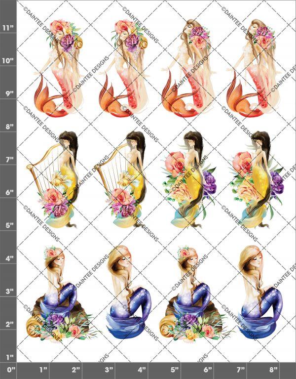 Watercolor Mermaid Mix Waterslide