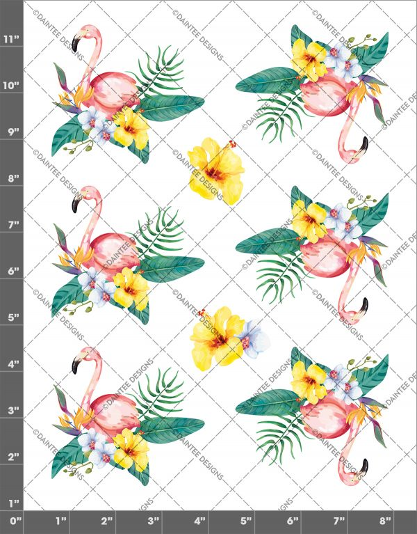 Tropical Watercolor Flamingo Waterslide Sheet