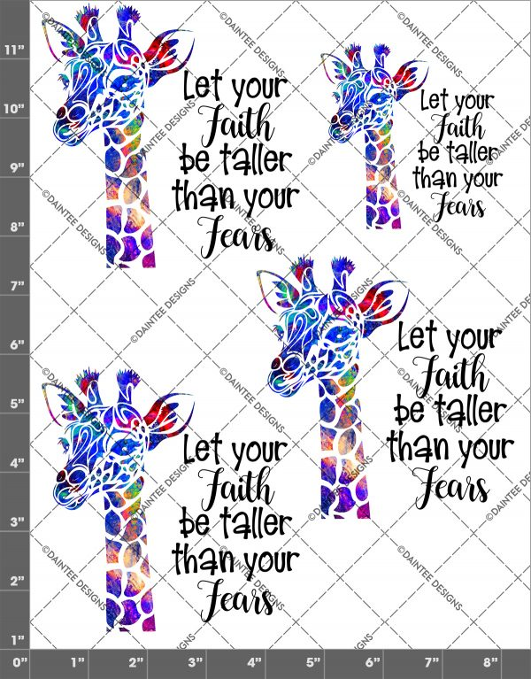 Let Your Faith Watercolor Waterslide Giraffe